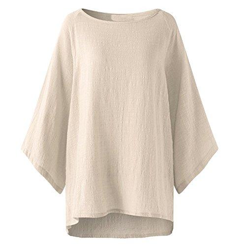 MRULIC Damen Leinen Gemütlich Leinen Dünnschnitt Lose langärmelige Bluse T-Shirt Pullover(Y5-Beige,EU-42/CN-L)