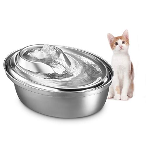 WOPET Cat Water Fountain Stainless Steel,Pet Fountain Dog Water Dispenser, Pet Drinking Fountain with 3 Replacement Filters for Dogs, Cats, Birds and Small Animals