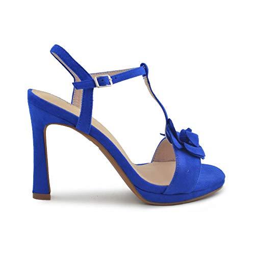 Zapato Fiesta Flor Azul eléctrico