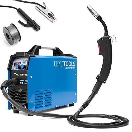 IPOTOOLS MIG-160ER MIG MAG - Soldador inverter de gas de protección (160 amperios, también apto para FLUX/alambre de relleno y electrodos/E-mano/pantalla digital/IGBT/230 V)