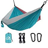Favorland Camping Hammock Double & Single with Tree Straps for Hiking, Backpacking, Beach, Yard - 2 Persons Outdoor Indoor Lightweight & Portable with Straps & Steel Carabiners Nylon (Grey-Blue-Pink)