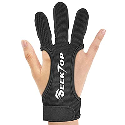 Archery Gloves Shooting Hunting Leather Three Finger Protector for Youth Adult Beginner -S