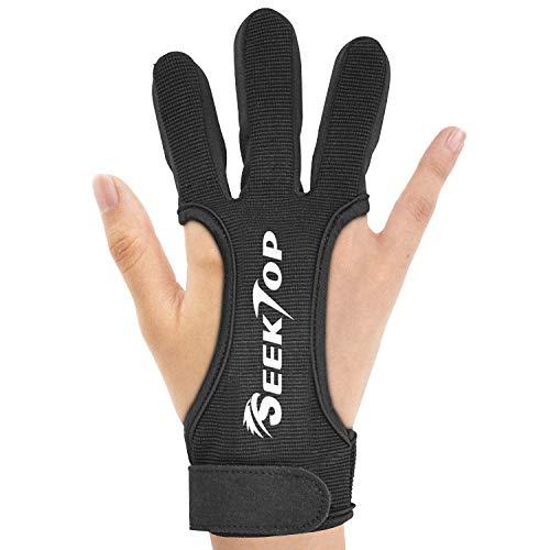 Seektop Traditioneller Bogenschießen Schießhandschuh, 3 Finger-Schutz Handschuhe für Kinder-Jugend-Erwachsen-Anfänger schießen-M