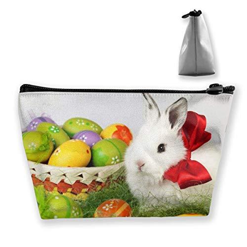 Bunte Ostereier und süße Kaninchen, Make-up-Tasche, groß, trapezförmig, Aufbewahrungstasche, Kosmetiktasche, Stifthalter, Reißverschluss, wasserdicht
