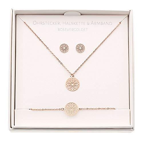 HCA Geschenkset Halskette-Armband-Ohrstecker - Motiv - Mandala des Glücks - rosévergoldet