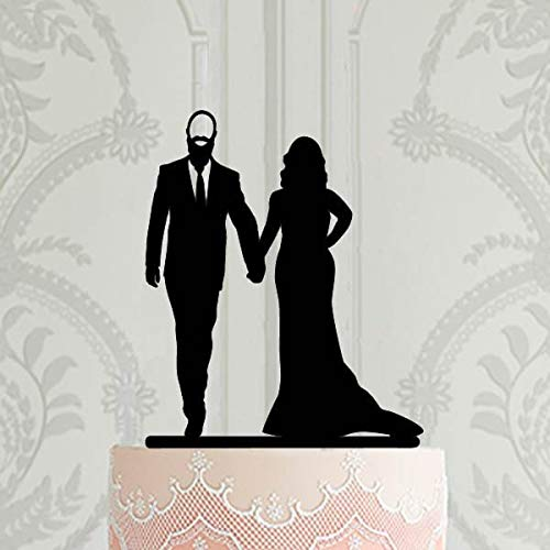 Personalised Wedding Cake Topper Bride And Groom With Beard Silhouette Bald Groom Cake Topper With Name Mr&Mrs Cake Topper Wedding Decor