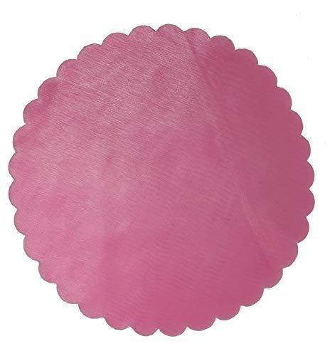 PUNTO CASA 100x Velo VELI di Fata Tulle Organza Tondo VELETTI BOMBONIERE Fai da Te Confetti Colore (Rosa)