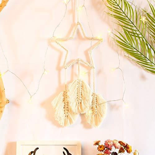 N-D Star Dream Catcher Macrame Wall Hanging Art Woven, Hemp Rope Handmade Braid Boho Tapestry, Chic Bohemian Wall Decor for Hanukkah Christmas Farmhouse Wedding Ornament Craft Gift(7.87' X 20.08')