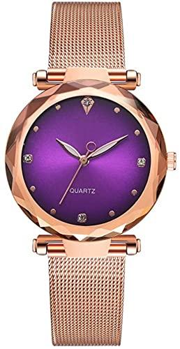 JZDH Mano Reloj Relojes de Mujer Relojes de Pulsera Moda Malla de aleación Correa de señora Mira Simple Cuarzo Damas Reloj Decorativo Púrpura Relojes Decorativos Casuales