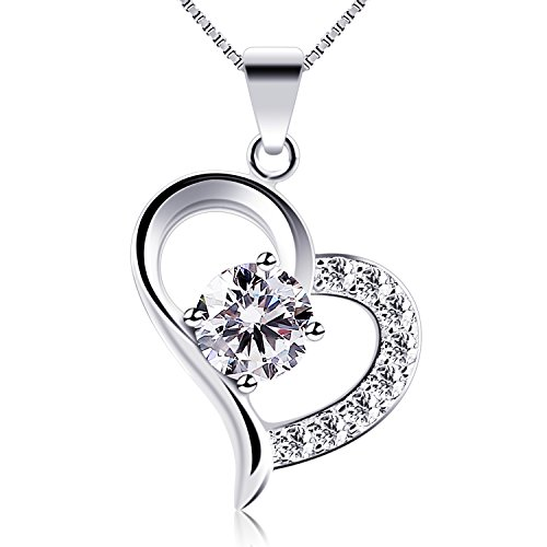 B.Catcher Heart Necklace 925 Sterling Silver Cubic Zirconia Pendant Necklaces,18""