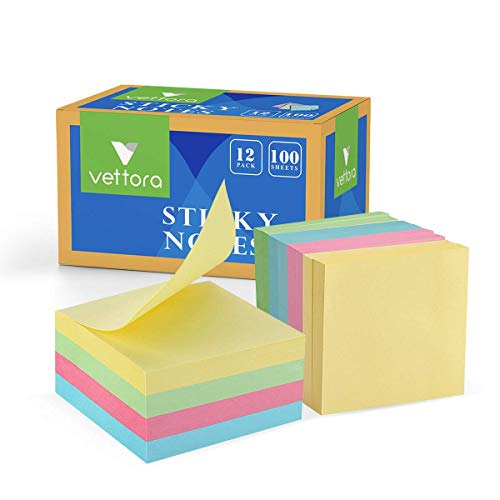 Sticky Notes Vettora | Self-Stick Notes / 100 Sheets/Pad, 3 X 3 Inches with 4 Candy Colors | Great for Reminders and Small Notes | Without Line Vettora Sticky Notes (12)