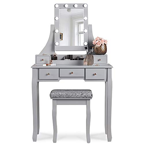 Arianna Deluxe Grey Dressing Table Set with Hollywood Bulbs LED Lights Vanity Mirror Stool Drawers