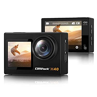 ?2021 Newest? Campark X40 Action Camera 4K Dual Screen with EIS Touchscreen Remote Control WiFi Waterproof 40M Vlog Camera 20MP with 2x1350mAh Batteries and Accessories Kit by Campark