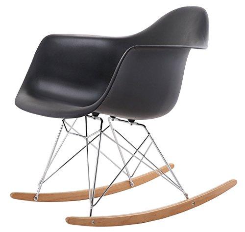 Chaise paresseuse Dossier Chaise à Bascule Mode Loisirs Chaise Balcon Chambre Chaise Longue pour Adultes Plastique + métal + Bois 61X68X71 cm LI Jing Shop (Couleur : Noir)