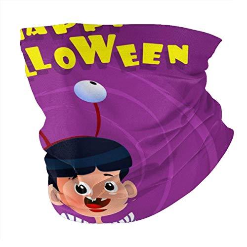Pster de Halloween con disfraz de nio para la cabeza, polaina para el cuello, pasamontaas, forro para casco, bufanda casual para hombres y mujeres, bufanda negra personalizada