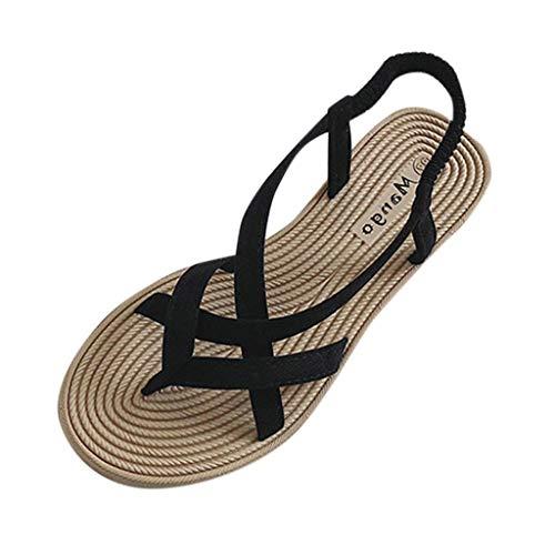 Sandalias Mujer Verano 2019 Bohemias Romanas Fondo Plano Punta Abierta Transpirable Zapatos Casuales Moda Playa Zapatillas Talla Grande Verano riou