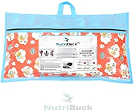 "NutriBuck Organic Buckwheat Pillow   Standard Size   15"" x 25"" inch   Pillow for Neck Pain   Shoulder Pain   Back Pain   Other Sleeping Problem (International Orange)"