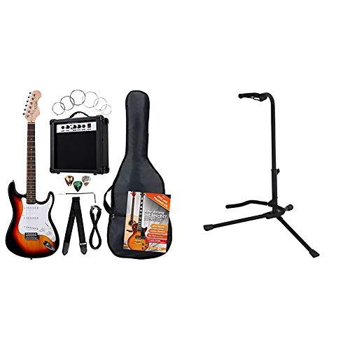 Rocktile BangerPack de 7 piezas, guitarra eléctrica, sunburst + BSX 518050Soporte para guitarra acústica y eléctrica, color negro