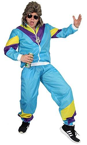 Foxxeo 80er Jahre Kostüm für Herren zu Karneval und Fasching Trainingsanzug Assianzug Assi Größe XL