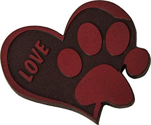 Zampa di Gatto - Calamita da frigo a forma di cuore con scritta Love e Orma di Gatto incise in Vera Pelle Rosso