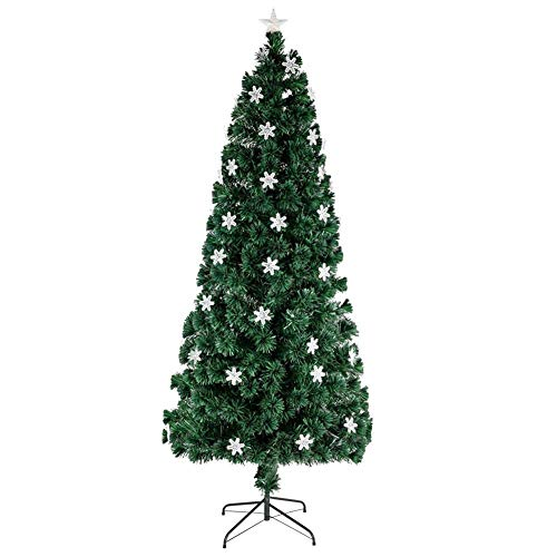 HM&DX Christmas Tree 6ft,Decorative Christmas Tree Topper Star with Lights,Artificial Xmas Tree Metal Stand Ornaments Bedroom