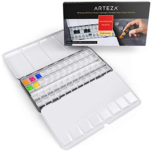 Arteza Empty Watercolor Palette Tin, 48-Piece Half Pans, Use as a Travel Watercolor Set with Watercolor Paints