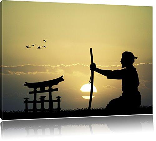 Pixxprint Samurai-Meister vor Horizont als Leinwandbild | Größe: 80x60 cm | Wandbild | Kunstdruck | fertig bespannt