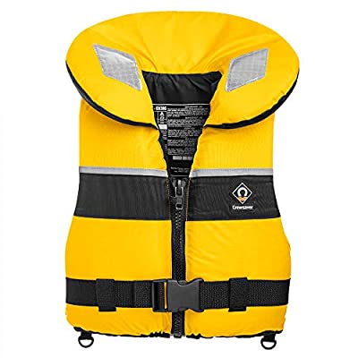 Crewsaver Boating and Sailing - Adult Spiral 100N Life Jacket Coat in Yellow Navy - Unisex - 100N Front Zip lifejacket