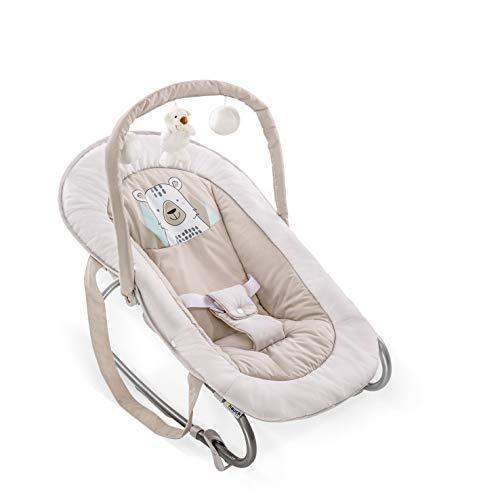 Hauck / Babywippe Bungee Deluxe / Schaukelfunktion / Spielbogen / verstellbarer Rückenlehne und Tragegriffe / ab Geburt bis 9 kg verwendbar / kippsicher und tragbar, Deluxe Friend (Beige)
