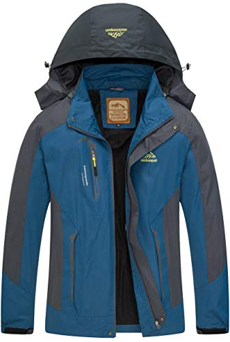 Diamond Candy Men Sportswear Hooded Softshell Outdoor Raincoat Waterproof Jacket Navy Blue
