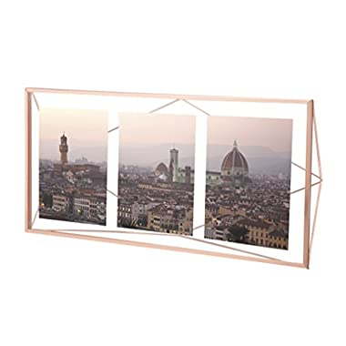 Umbra Prisma Multi Photo Picture Frame – Floating Wall or Desk Photo Display for Pictures, Art, Illustrations, Graphic Text & More, Metal, Copper