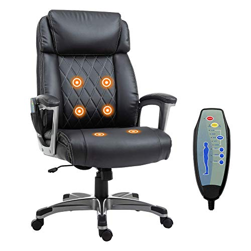 AIMCAE Silla de Masaje de Oficina Silla ejecutiva para computadora con Respaldo Alto, sillón de Cuero de PU, Masaje de 6 Puntos