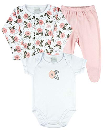 Conjunto Bebê Menina Suedine Estampado e Liso 3 Peças Rosas - Branco G