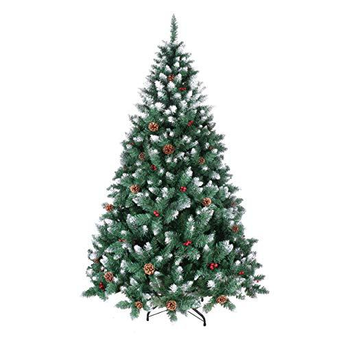 YOUKE Albero di Natale Artificiale di Pino Dolce Glassato Decorato con Pigne e Bacche Rosse,Facile da Installare, Materiale in PVC (1098Tips,2.1M)