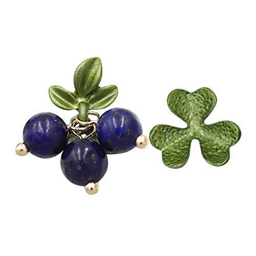 C- Damen Ohrringe - Asymmetrische Blume Blueberry Ohrringe Temperament Einfache Wilde Mode Ohrringe