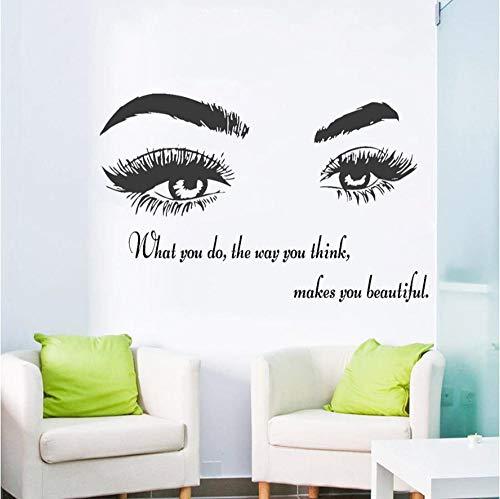 Oeil vinyle decal salon de beaute offre autocollant cils sourcils maquillage papier peint decal decoration 66x42 cm