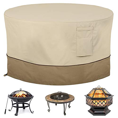 Gas Fire Pit Cover Round Waterproof Patio Table Covers Outdoor Camping Fireplace Cover 35 x 22 inch Firepit Furniture Dustproof