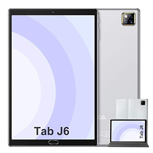 Tablet 10 Pulgadas Android 10.0 - RAM 4GB | ROM 64GB - WiFi - Octa Core (Certificación Google GMS) - JUSYEA Tableta - Batería de 6000mAh - Cubierta (Plata)