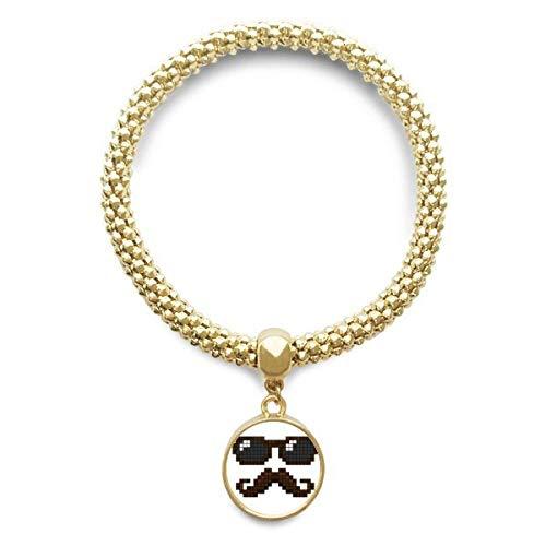 DIYthinker Damen Sonnenbrille Bart-Mann Pixel goldene Armband Laufende hängende Schmuckkette