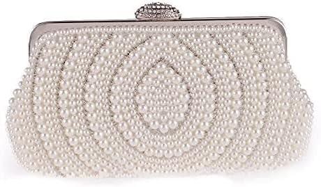 Women's Evening Handbags Women's Pearl Dinner Bag Dress Bag Banquet Clutch Bag Chain one Shoulder Beaded Bag (Color : White)