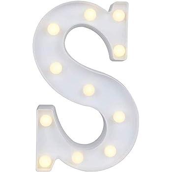 Leoboone Alfabeto Lettere Luci LED Lettere Bianche Lettere AZ Decorazione Matrimonio