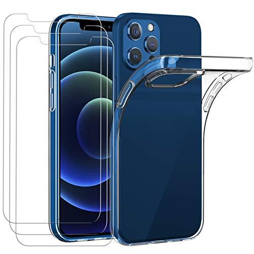 ivoler Hülle Kompatibel für iPhone 12 Pro und 12 (6.1 Zoll) mit 3 Stück Panzerglas Durchsichtig Handyhülle Transparent Silikon TPU Schutzhülle Case Cover mit Premium 9H Hartglas Schutzfolie Glas