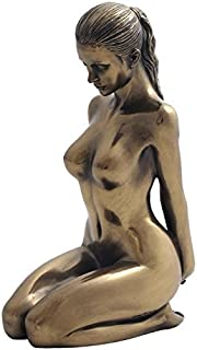 5.88 Inch Nude Female Statue Kneeling with Hands on Back, Bronze Color