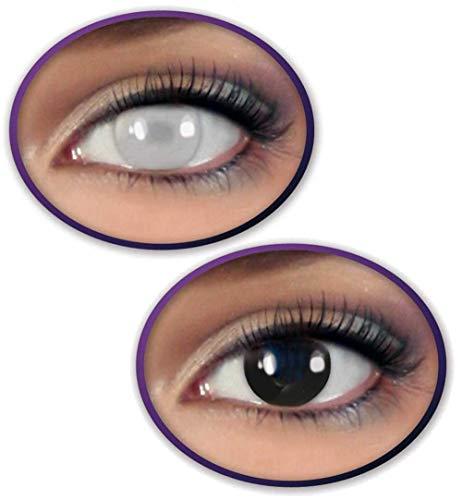 KarnevalsTeufel Farbige Kontaktlinsen im Set Black & Blind 2 farbige Linsen in schwarz und weiß