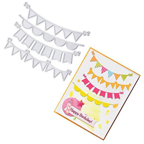 OOTSR Troquelar Bandera, Troqueles Scrapbooking, Plantillas de Corte de Metal para DIY Scrapbooking Decoraciones de Tarjetas de Papel de Feliz Cumpleaños