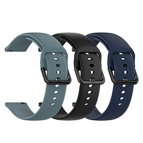 Chofit Correa compatible con Popglory Straps, bandas deportivas de silicona suave de liberación rápida, brazalete de repuesto para reloj inteligente Popglory (grande, negro + azul+pizarra)