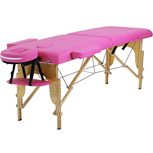 Portable Massage Table Spa Bed Folding 84 Inch Height Adjustable 2 Fold Massage Bed with Carry Case PU Leather Professional Facial Salon Tattoo Bed with Face Cradle, Hold Up To 450Lbs, Pink