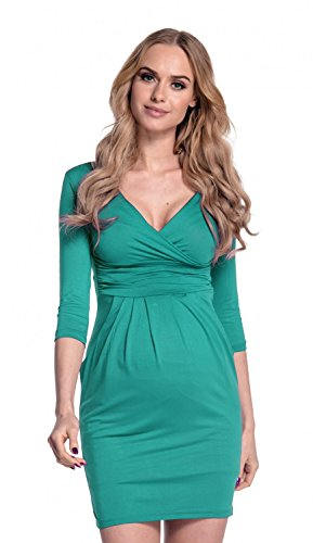 Happy Mama. Donna. Abito Elasticizzato prémaman Elegante Vestito con Tasca. 236p (Verde Acqua, IT 46, XL)