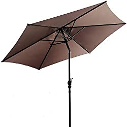 Giantex 10ft Patio Umbrella 6 Ribs Market Steel Tilt w/ Crank Outdoor Garden (Tan)