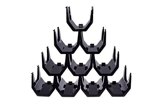 Botellero de Vino de Plástico Premium Negro Apilable – Paquete con 10 Botelleros de Vino
